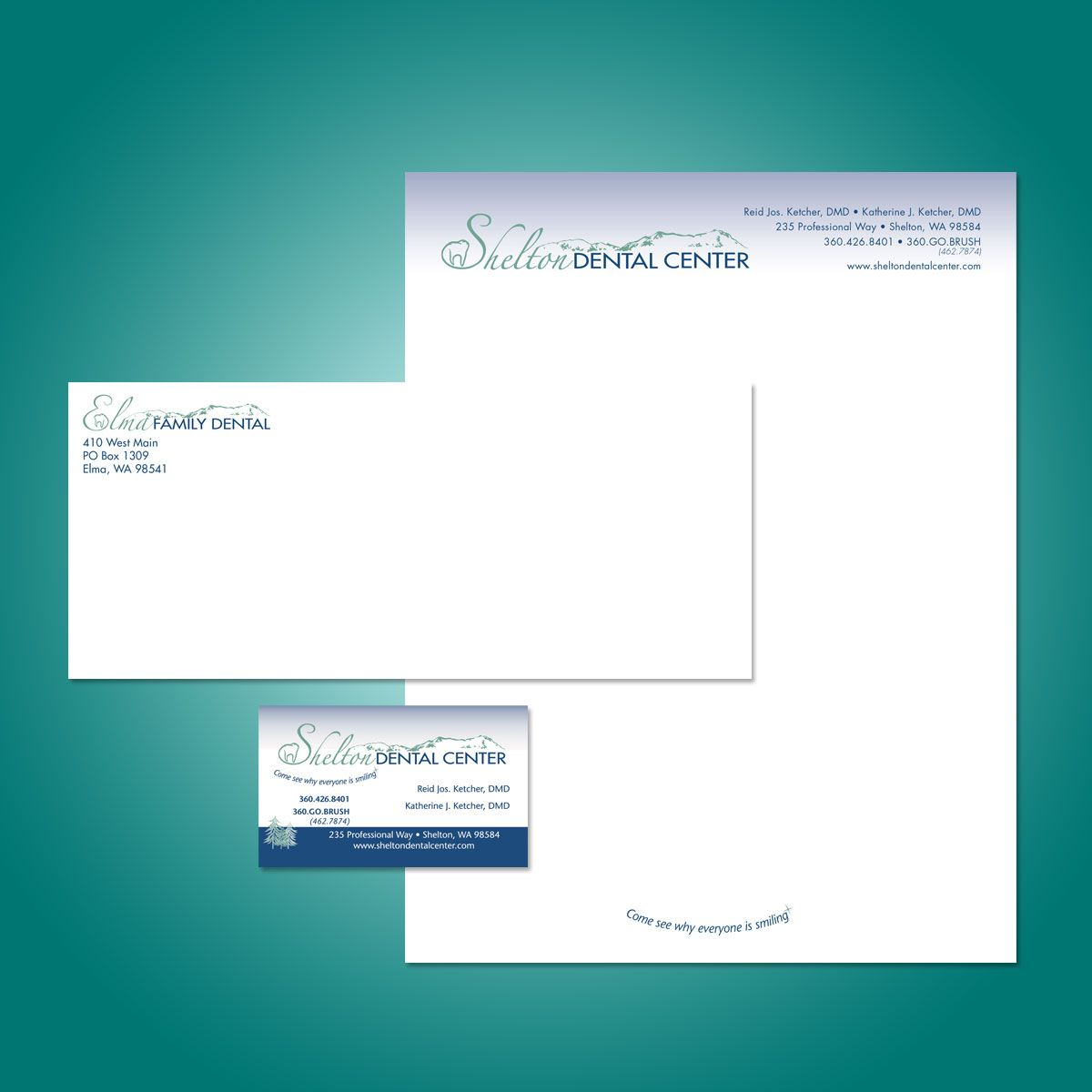 Letterhead, envelope, business cards, large referral pad, small ...