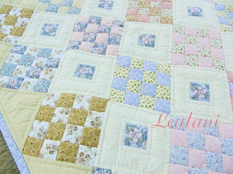 Quilts Patchwork Quilt Tagesdecke Patchwork Pastell Ein