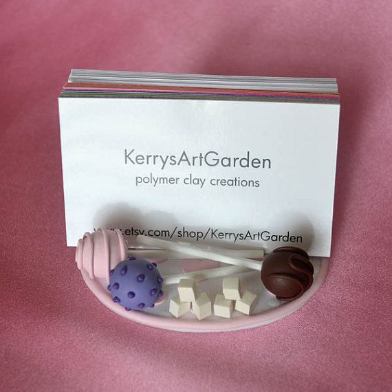 Clay Pottery - bussines card holders | Cake Pop Polymer Clay Business Card Holder Custom Designed for Sugar ...