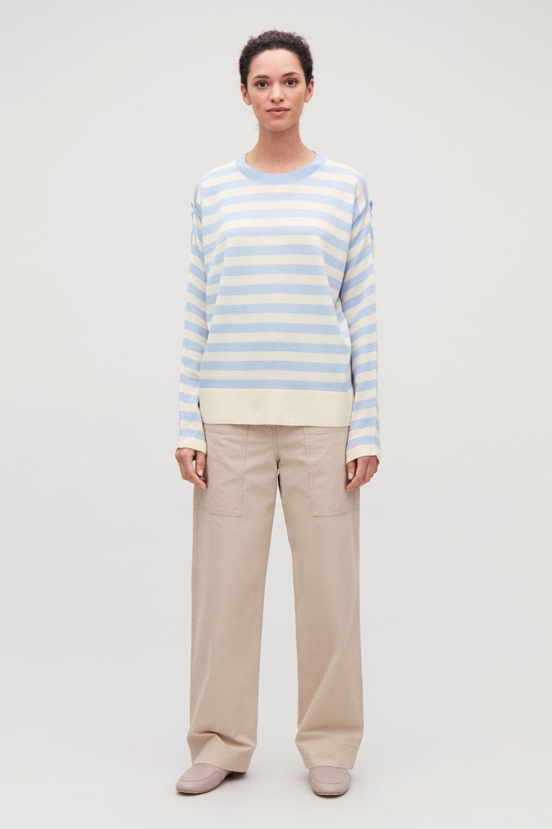 e5ef791944f DRAPED STRIPED MERINO JUMPER - Sky blue / white - Knitwear - COS ...