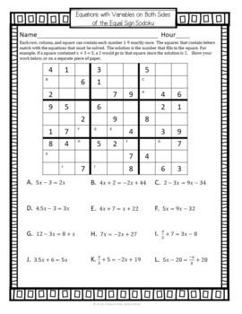 Multi Step Equation Sudoku Game | Matemáticas | Pinterest