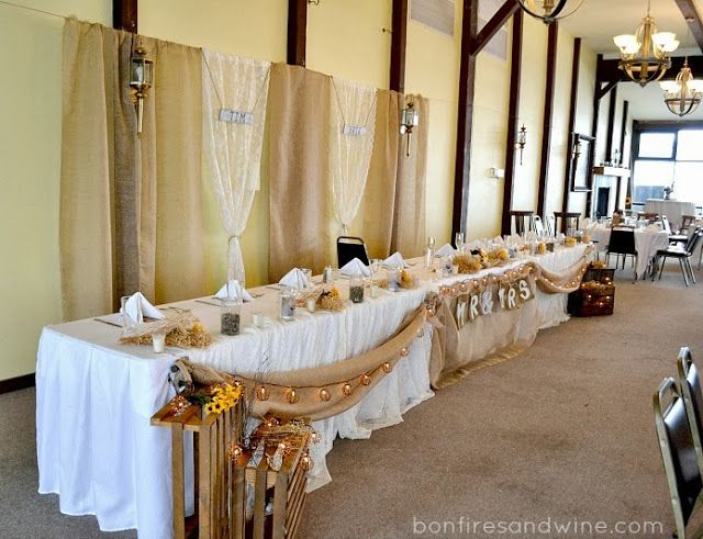 Rustic wedding head table used some burlap to make a mr mrs rustic wedding head table used some burlap to make a mr mrs sign for the head table junglespirit Gallery