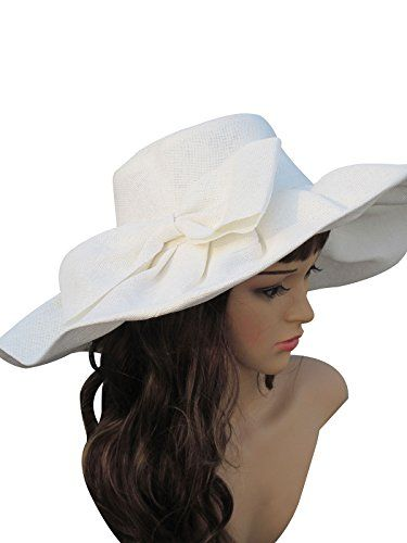 50e7cab6 Linen Summer Womens Kentucky Derby Wide Brim Sun Hat Wedding Church Sea  Beach A047 (White