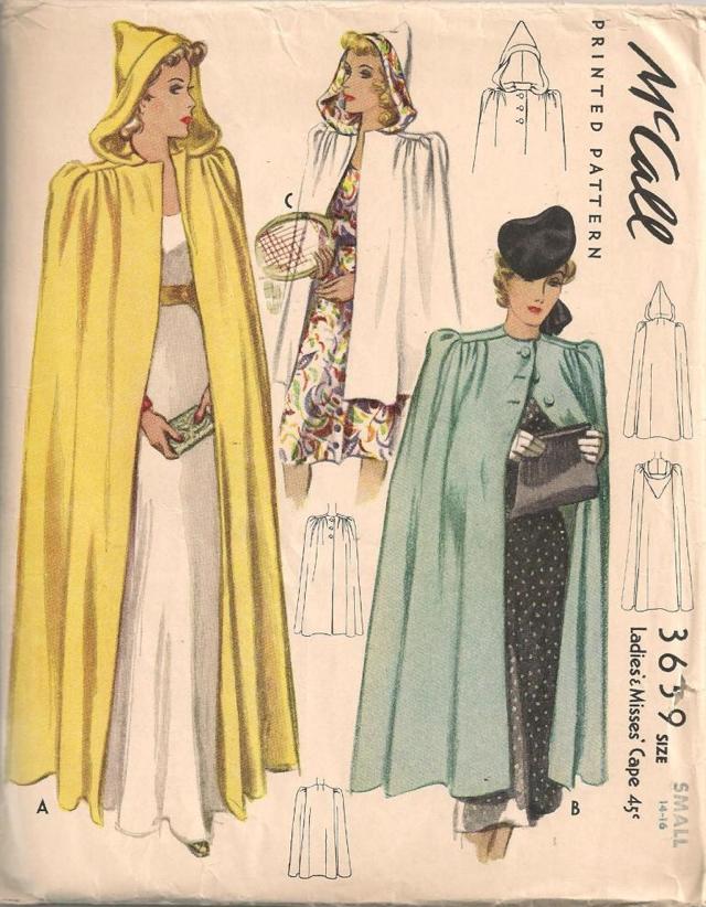 Vtg 40\'s McCall Cape Cloak w & w/o Hood Sewing Pattern Sz 14-16 ...
