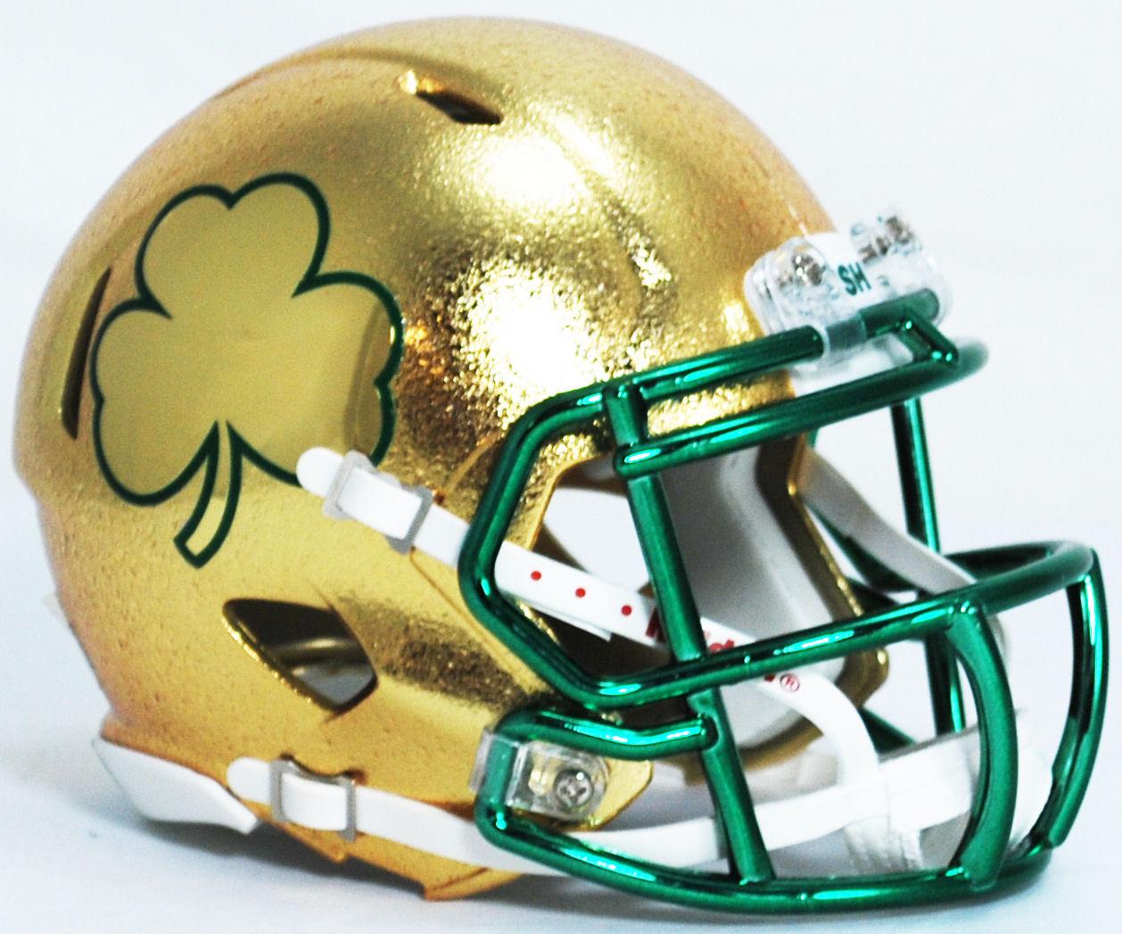 Notre Dame Fighting Irish Ncaa Mini Speed Football Helmet Shamrock Hydroskin Football Helmets Football Cool Football Helmets