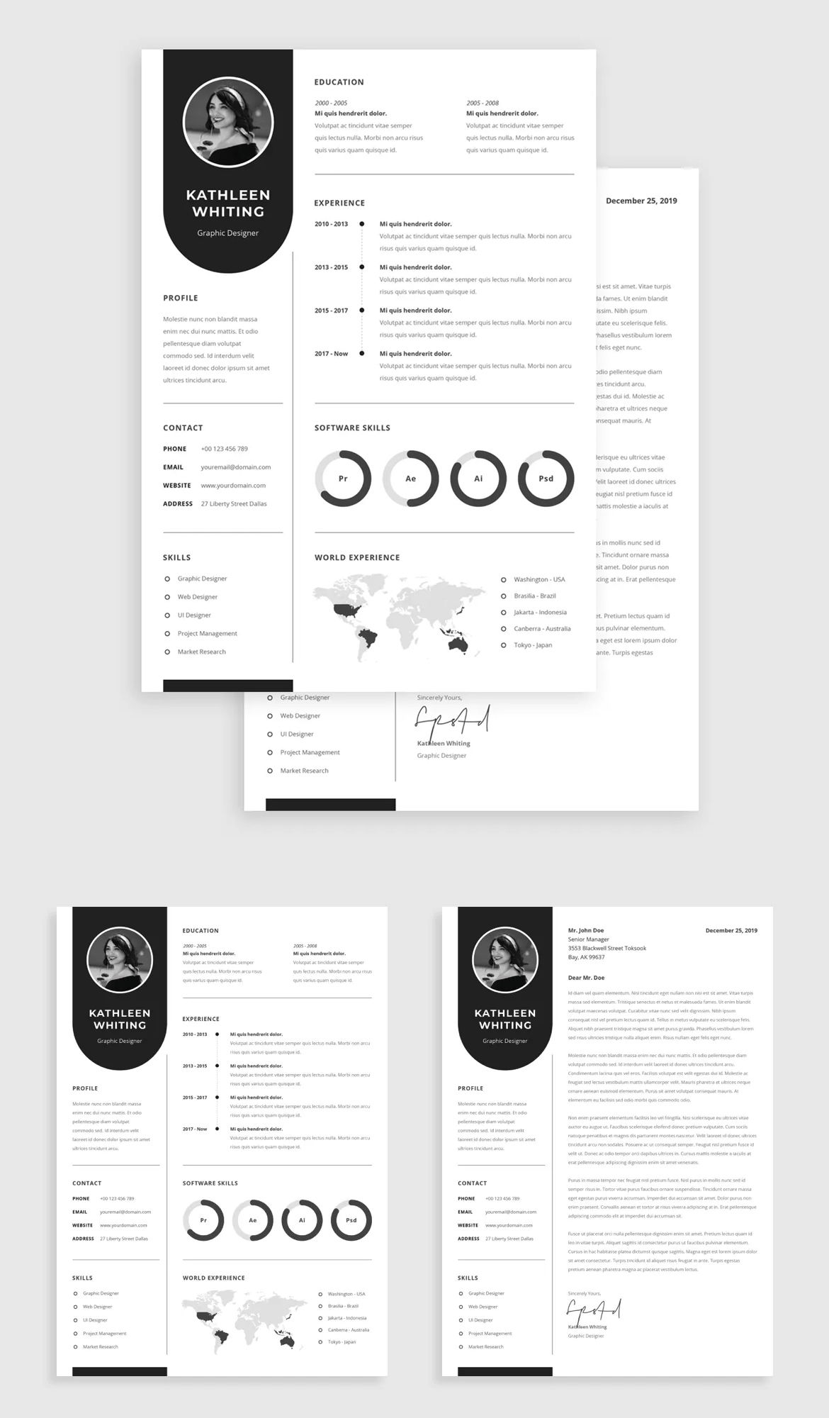 CV Resume Template AI, PDF, PSD and MS Word in 2020 Cv