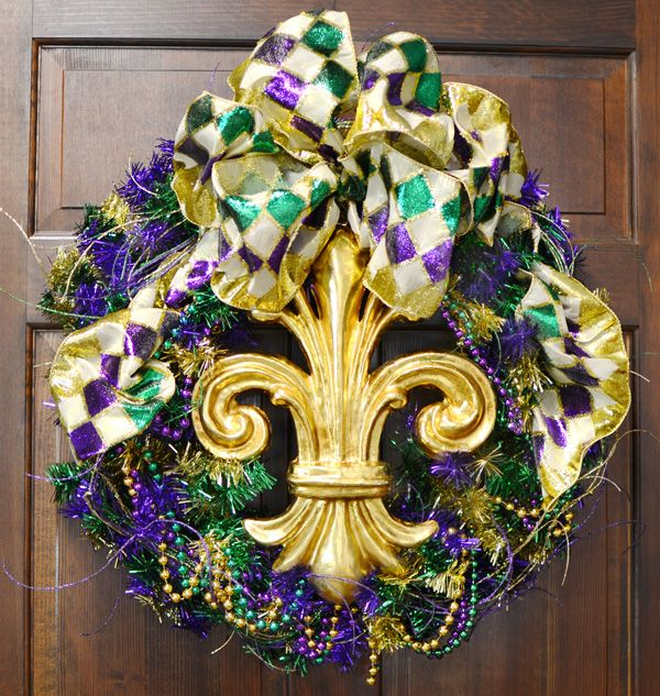 Tinsel Mardi Gras wreath with Paper Mache Fleur de Lis and embroidered ribbon