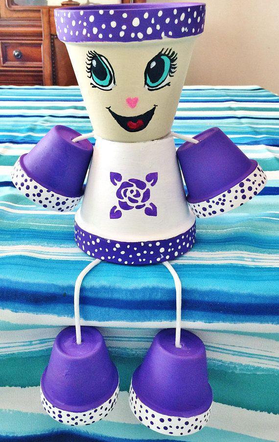 Ellie Purple Rose Lady Girl Flower Pot Head People Terra Cotta Planter In Door Decor Outdoor Decor Garden Clay Pot Gift Pots De Fleurs Decores Gens Sur Les Pots De