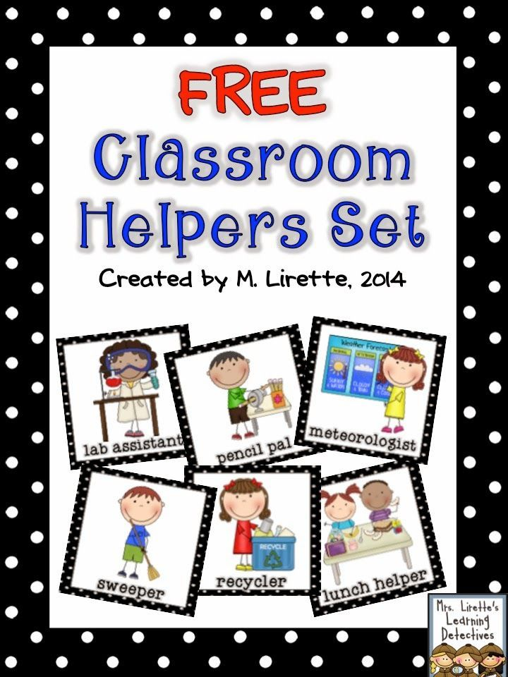 picture about Free Printable Preschool Job Chart Pictures named Clroom Helpers Established Free of charge KinderLand Collaborative