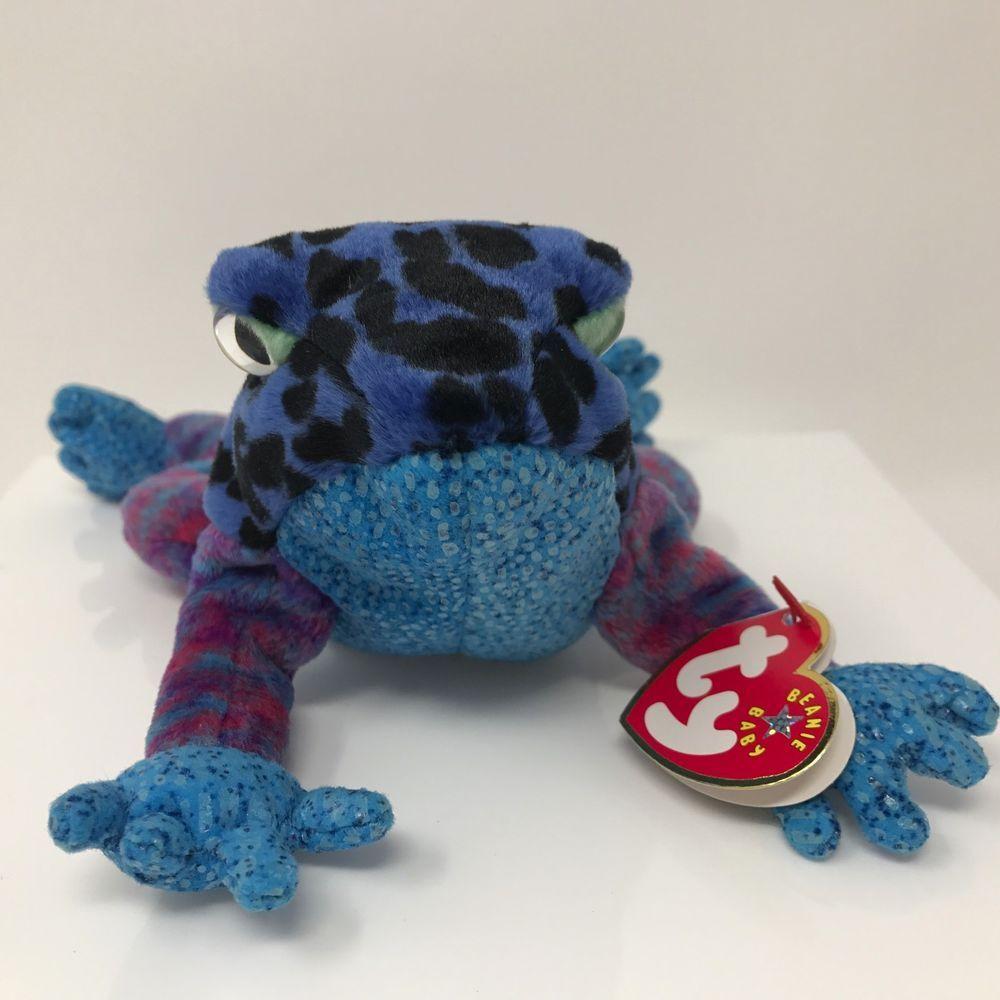 883f6bad4cf Ty Beanie Babies Blue Dart Tree Frog Plush Stuffed Animal Toy Retired 2001  7