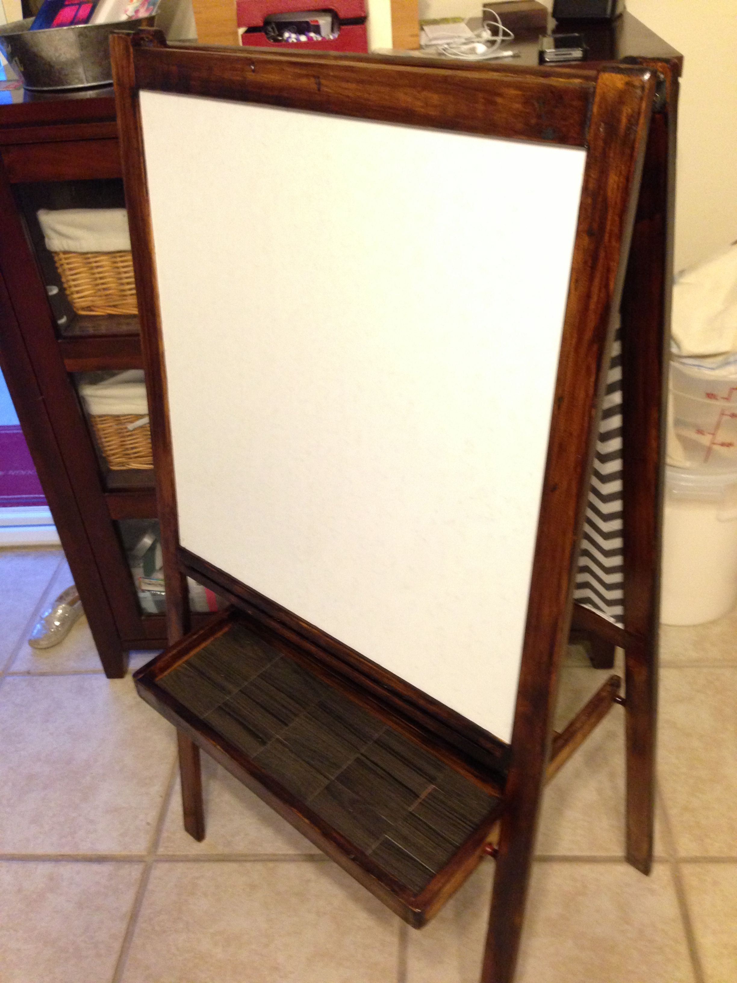 Old Ikea easel sanded to a clean, stained with Mibwax mission oak ...