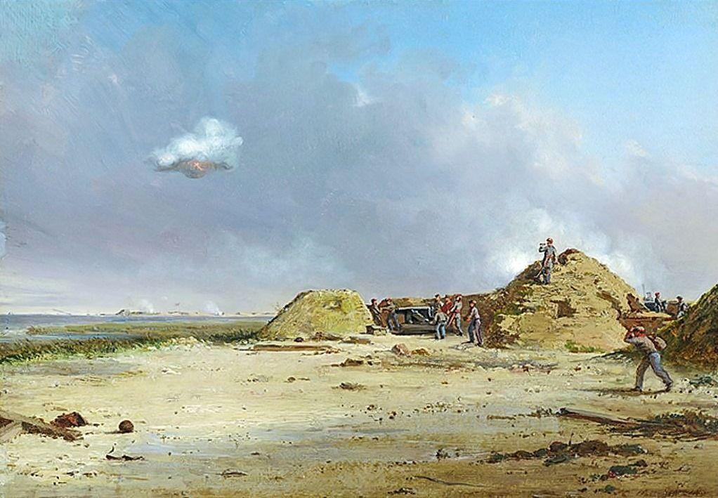 """Battery Simpkins–February 25, 1864 Painting by Conrad Wise Chapman.  """"Shows Morris Island, and one of the batteries on James Island, which was opposite Sullivan's Island. Men may be seen coming up with ammunition."""" – Conrad Wise Chapman, 1898"""