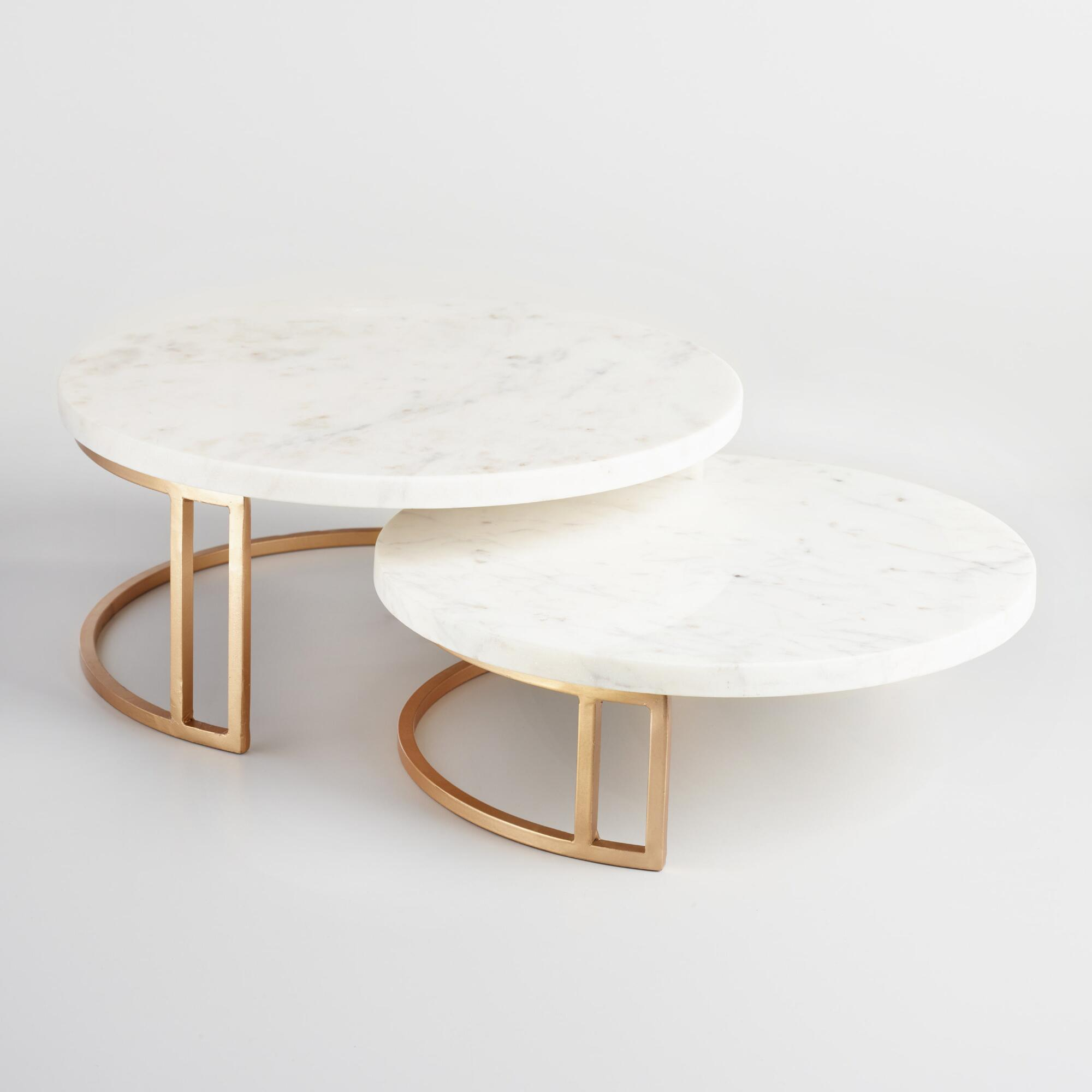Gold And Marble Pedestal Stand Small By World Market