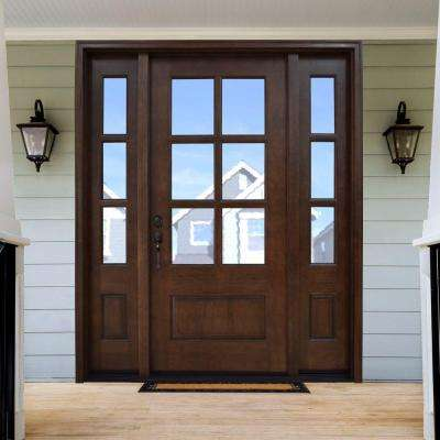 Savannah 6 Lite Stained Mahogany Wood Prehung Front Door With Sidelite Stained Front Door House Front Door Front Door Sidelights