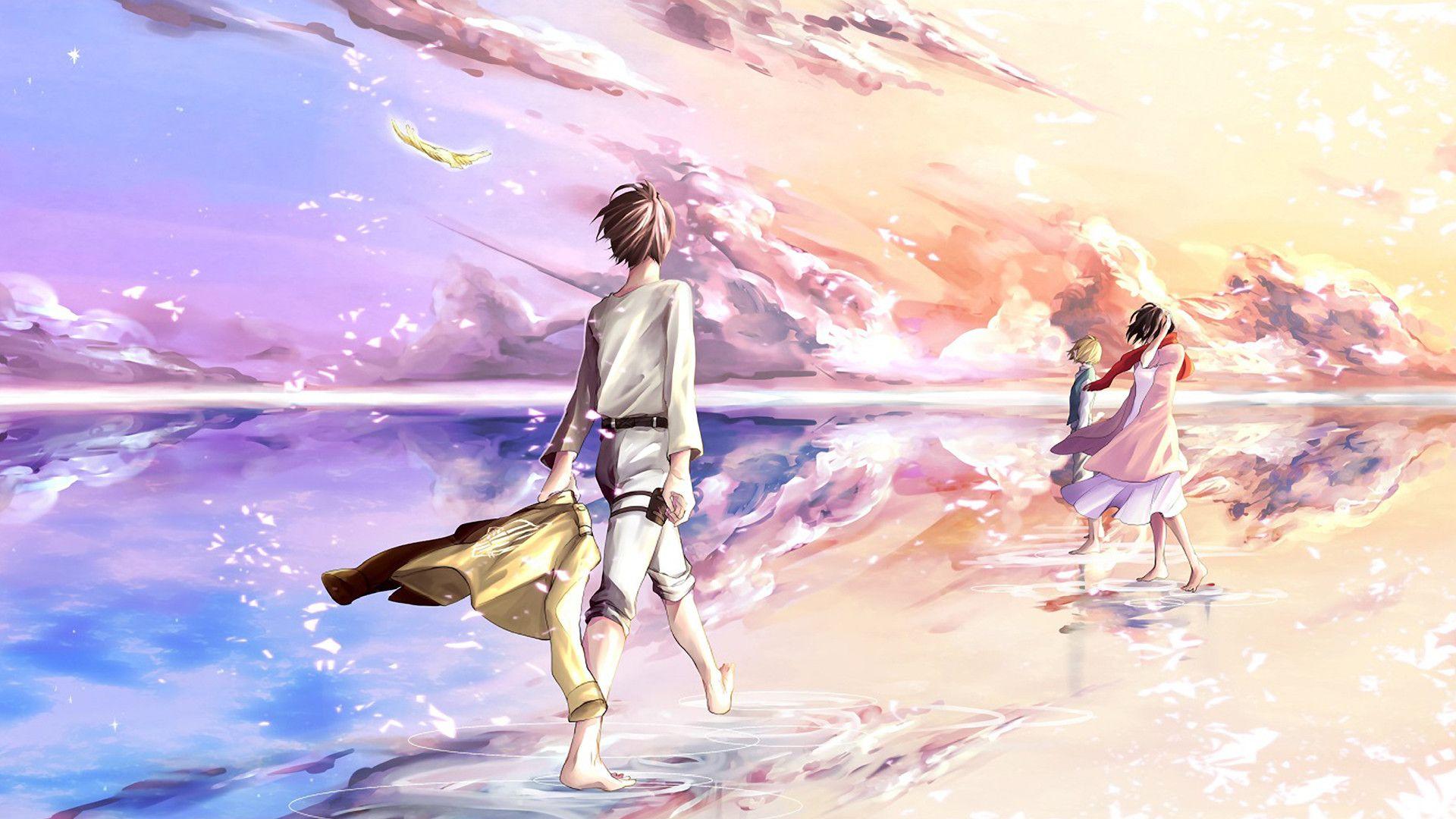 Shingeki No Kyojin Fanart Wallpaper Pastel Cloudy Skies Eren Armin Mikasa Attack On Titan Attack On Titan Eren Attack On Titan Levi