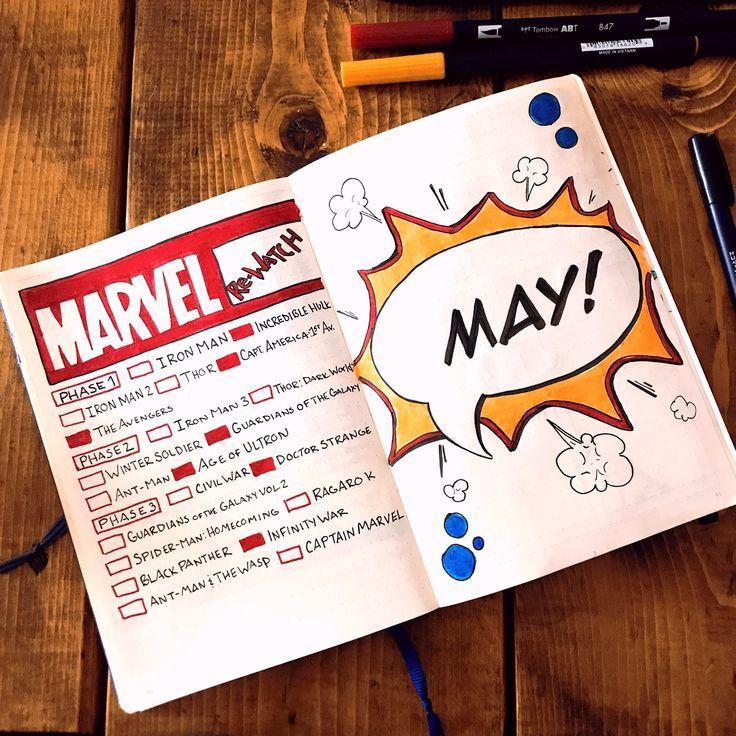 Comic Bullet Journal verbreiten und Marvel Movie Collection