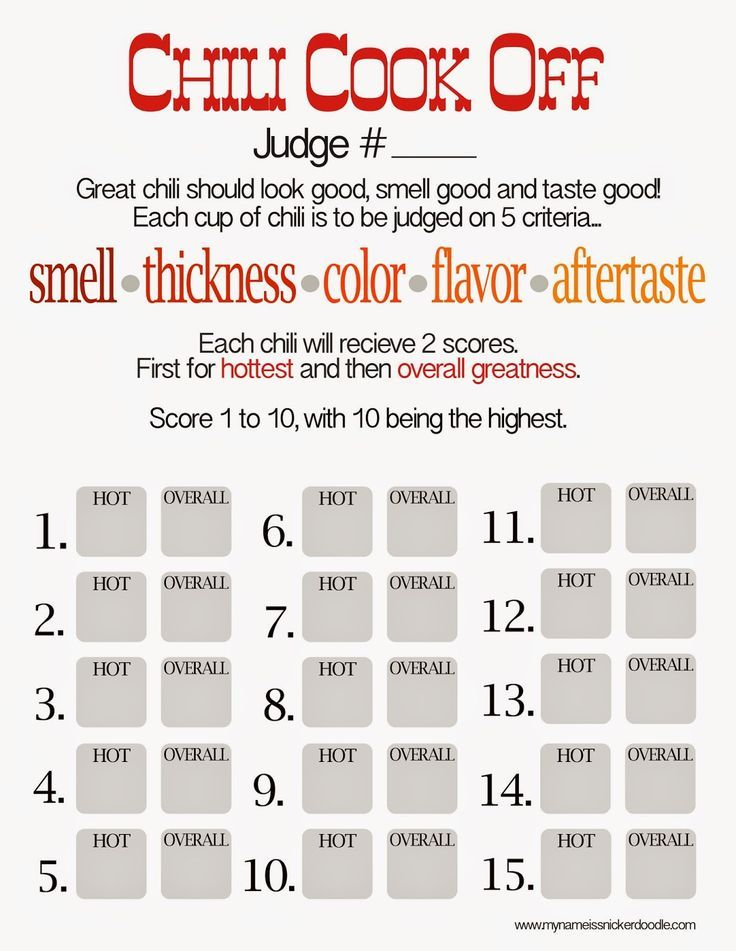 Free Chili Cook Off Score Card | Amazing Appetizers! | Chili cook ...