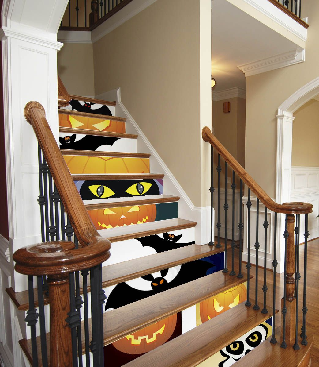 decorate your stairs for halloween paint or stencil on foam board panels