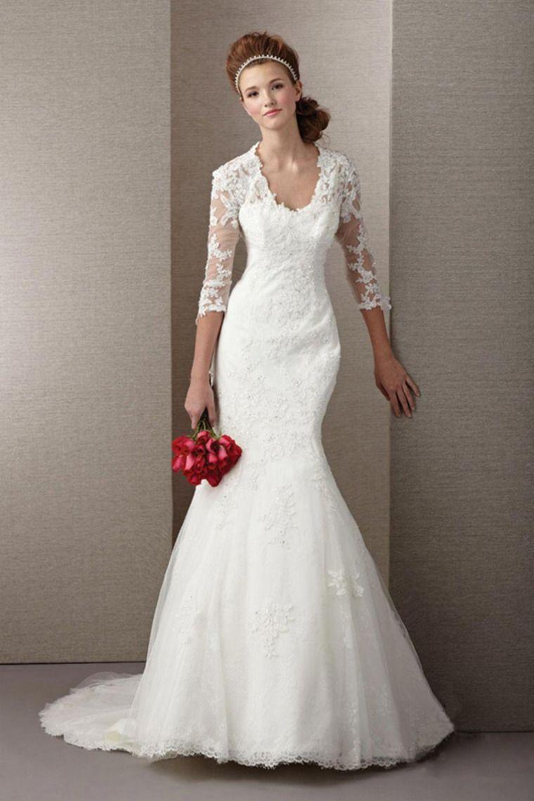 Lace v neck wedding dress   V Neck Wedding Dress  Length Sleeve SheathColumn With