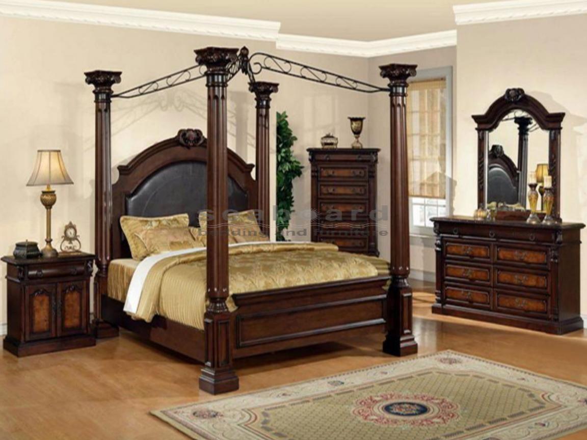 Wooden Queen Bedroom Sets With 4 Pillars Bedding