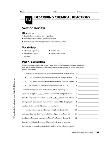 Describing Chemical Reactions 10th 12th Grade Worksheet Lesson