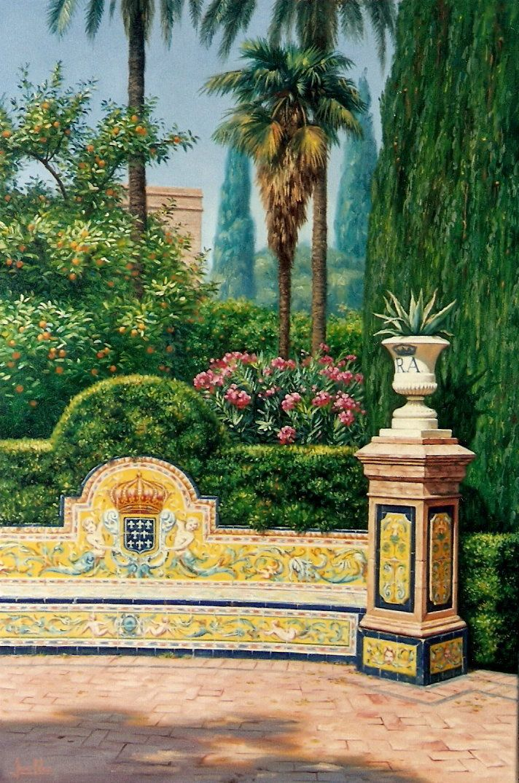 Jes s fern ndez pintor vista de los jardines del alc zar for Jardines del eden sevilla