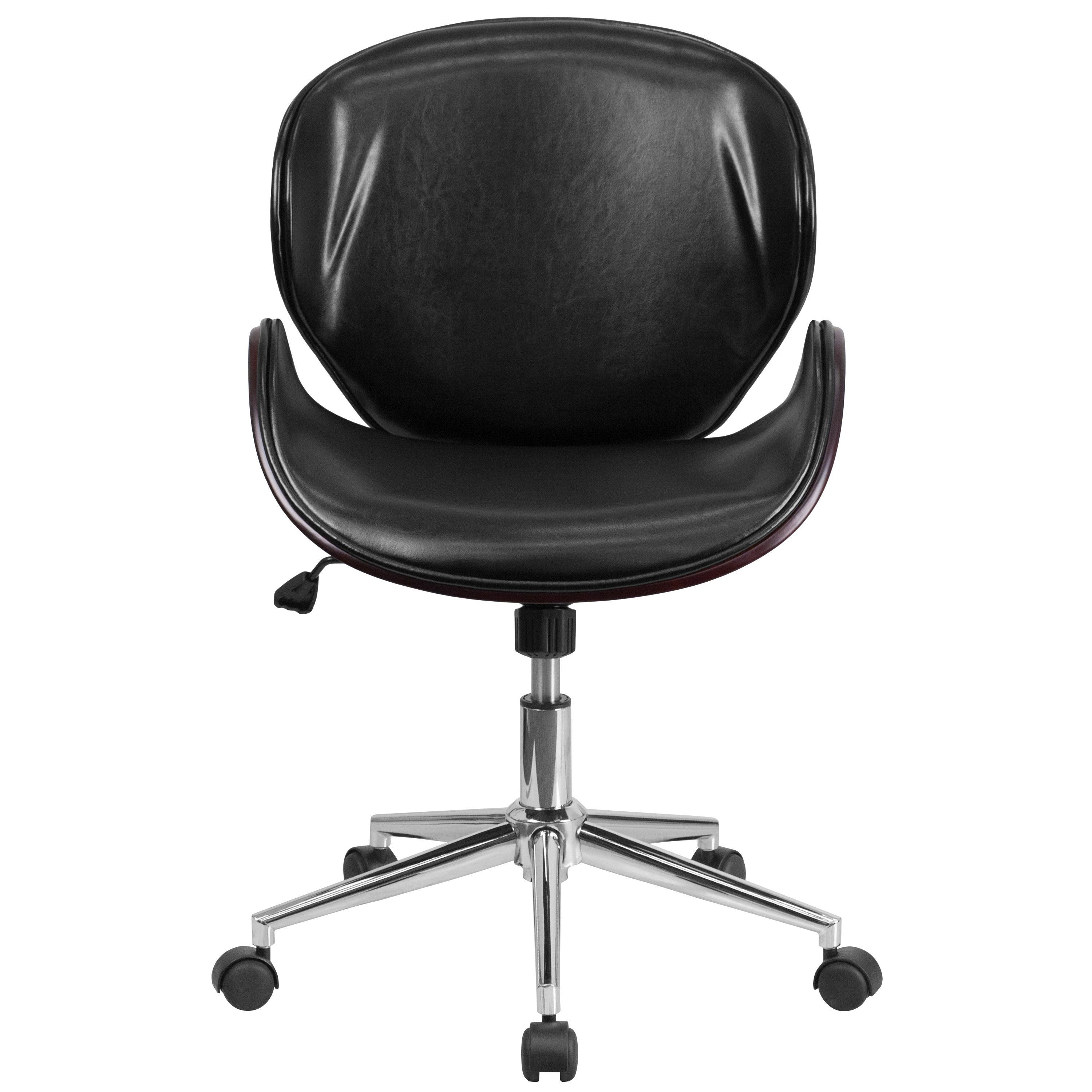mid back mahogany wood swivel desk chair in black leather products rh pinterest com