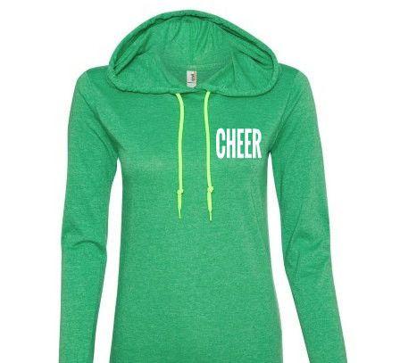 "Lightweight Hoodie ""CHEER"" Green Hoodie with long sleeve For women, Be – East Carolina Vinyl Supply"