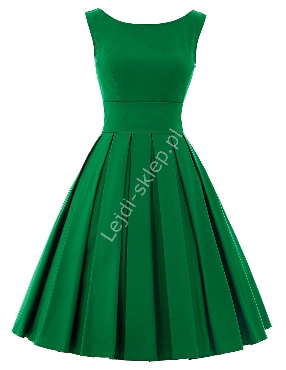 6df821cd3b Zielona sukienka z plisowanym dołem