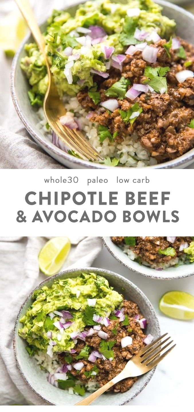Whole30 Chipotle Beef & Avocado Bowls | Clean Eating Recipes #cleaneatingforbeginners