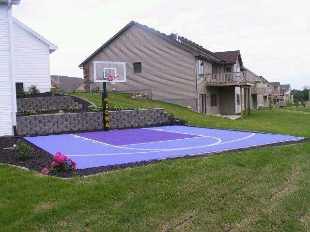 Great landscaping!   Basketball court backyard, Backyard ...