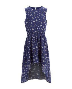 Girls Blue Butterfly Print Chiffon Dim Hem Dress | New Look
