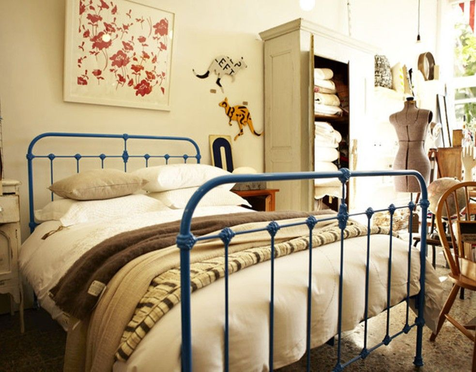 Vibrant Blue Iron Bed Iron Bed Wrought Iron Beds Cast Iron Beds