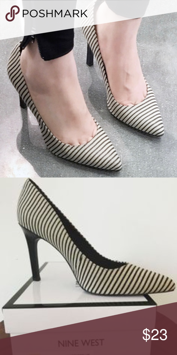 553fd3018ffe Nine West striped high heel size 9.5 These shoes are super cute and you can  wear them Casually. They are more of a very light beige and black not black  and ...