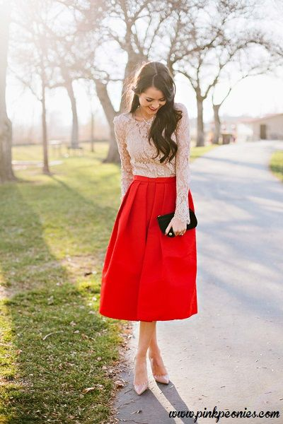 3672abf245 Red midi skirt - Lace top - Nude pumps #redskirt #midiskirt #fashion #style  #womensstyle #womensfashion #womensoutfits #fashionblogger #ootd  #streetstyle
