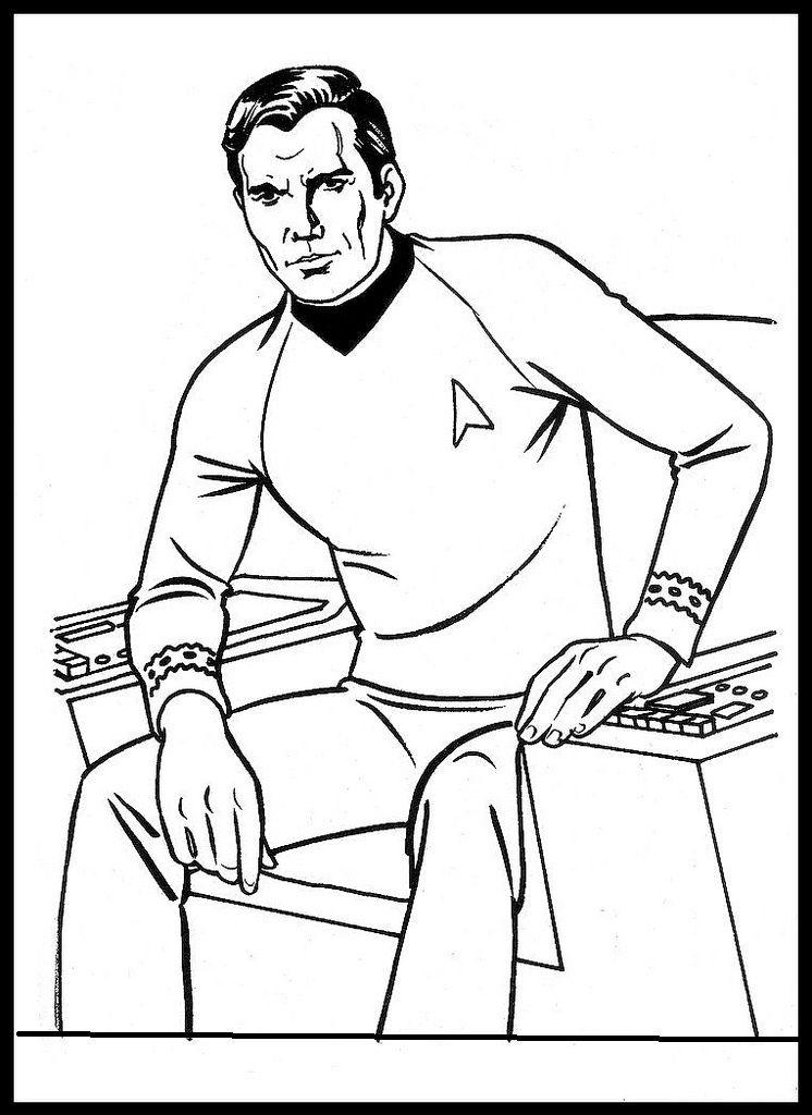 Star Trek Captain Kirk Coloring Page For Boys Color Me Fun