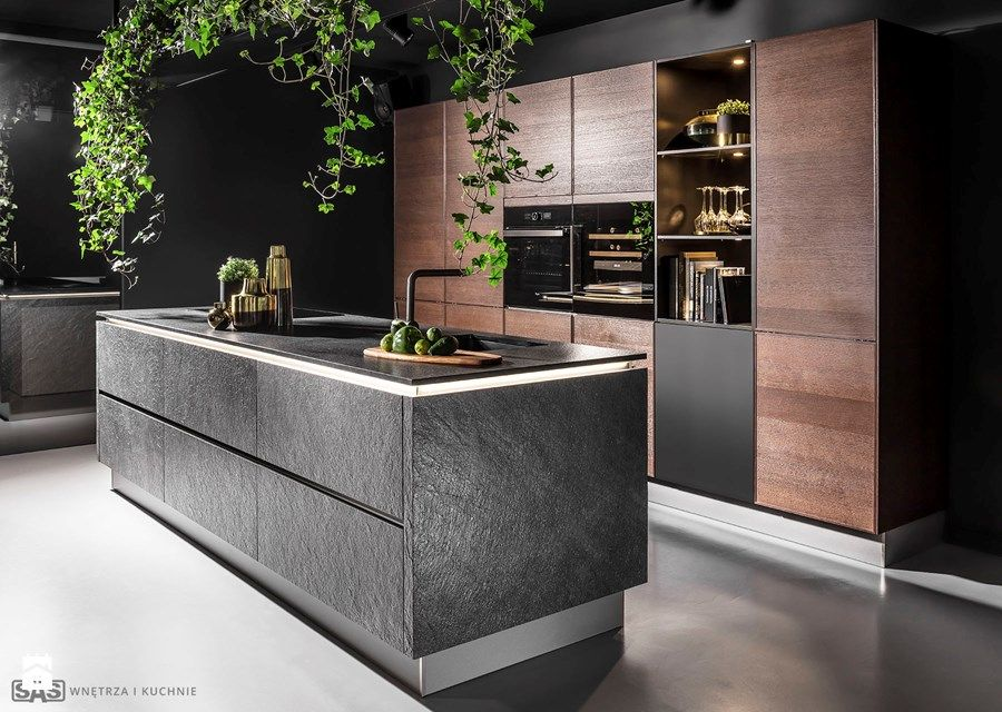 Kuchnia Black Star Srednia Otwarta Kuchnia Jednorzedowa Z Wyspa Styl Industr Kitchen Inspiration Design Modern Kitchen Island Design Interior Design Kitchen