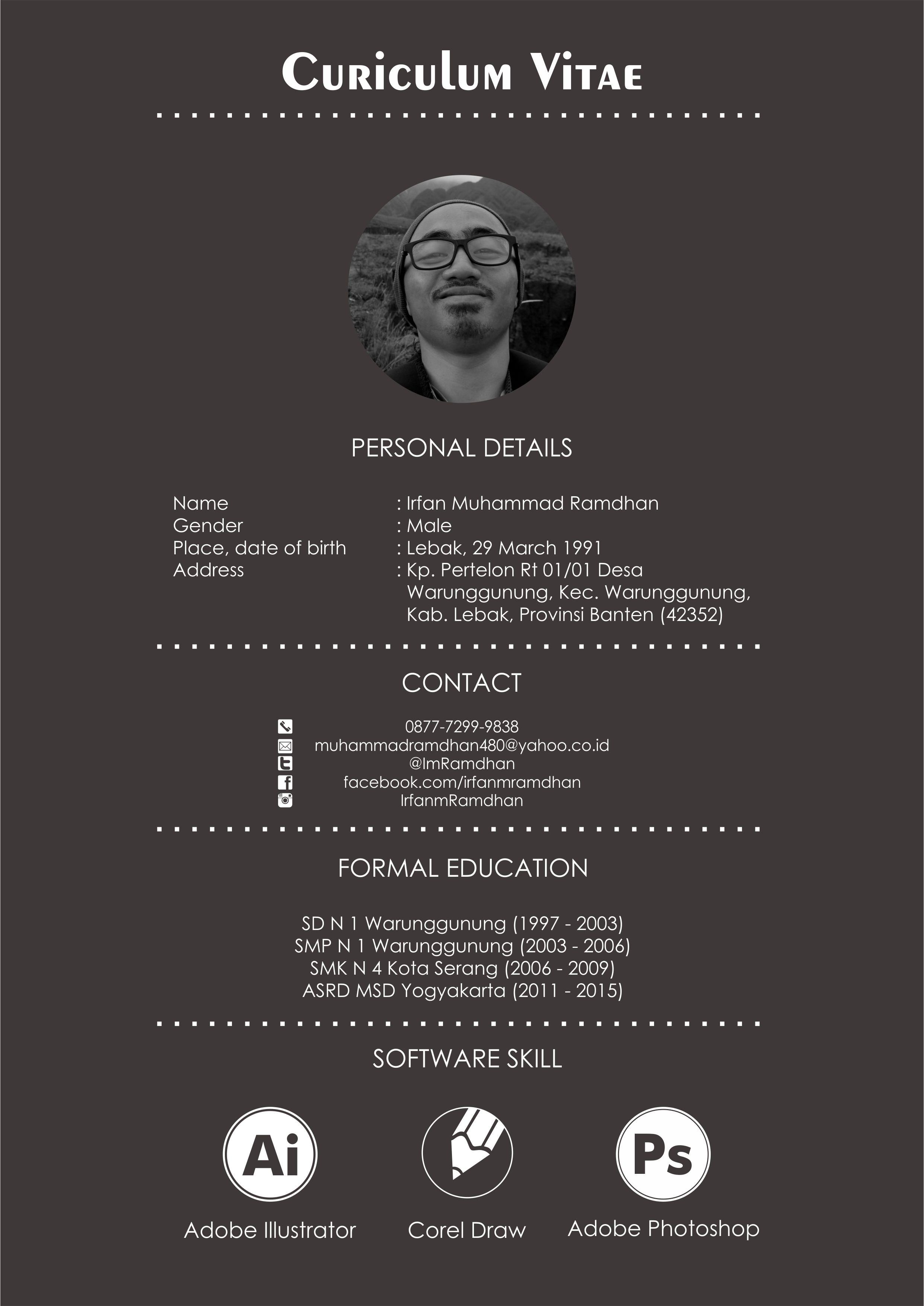 Graphic Design CV By Irfan Muhammad Ramdhan #Graphicdesign #Design ...