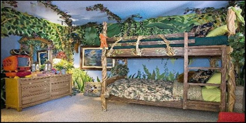 Turn your child's bedroom into a jungle adventure for them, by creating a fun, jungle themed room that they will want to spend time in. Paint the walls in different shades of green and browns, and invest in some bright and fun bedding. Wooden furniture is great, because they will instantly fit into this theme and you will not have to change anything, they will seamlessly just blend in, and add to the jungle theme.