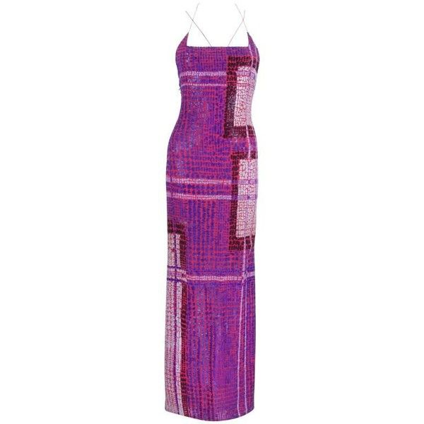 Preowned Bill Blass Geometric Sequined Evening Gown ($636) ❤ liked ...