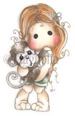 #390 Tilda with Maggie the Monkey | 2014 Animals Of the Year by Collection | Stamps | Magnolia Stamps