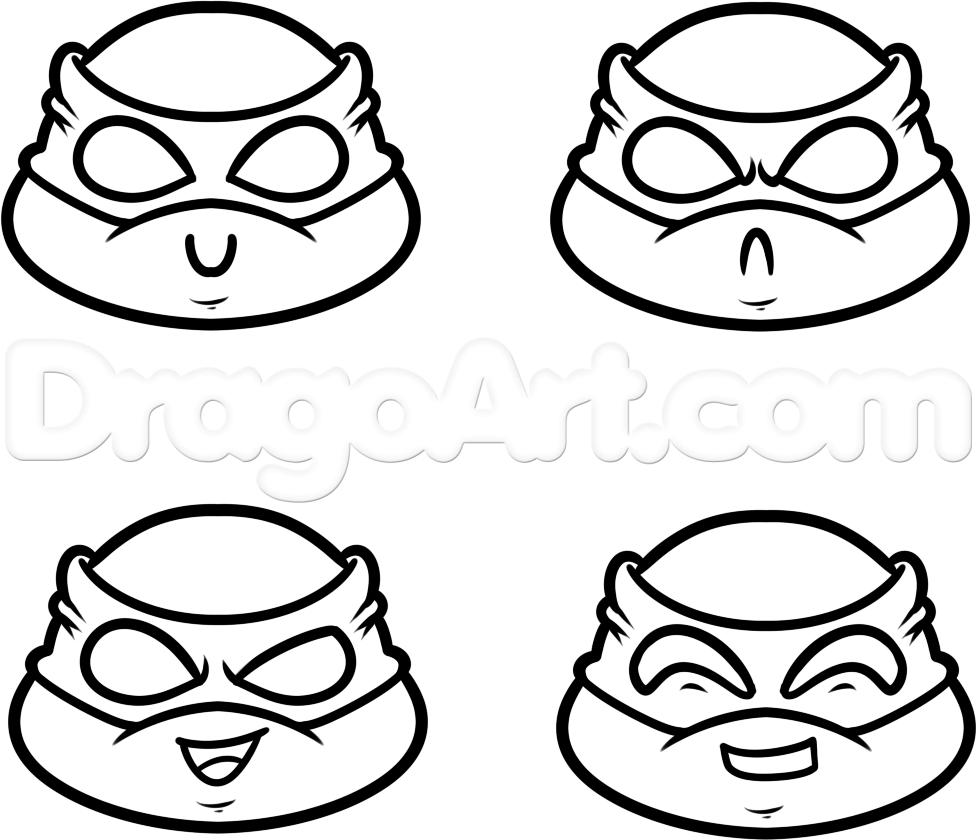 How to Draw Chibi Teenage Mutant Ninja Turtles, Step by