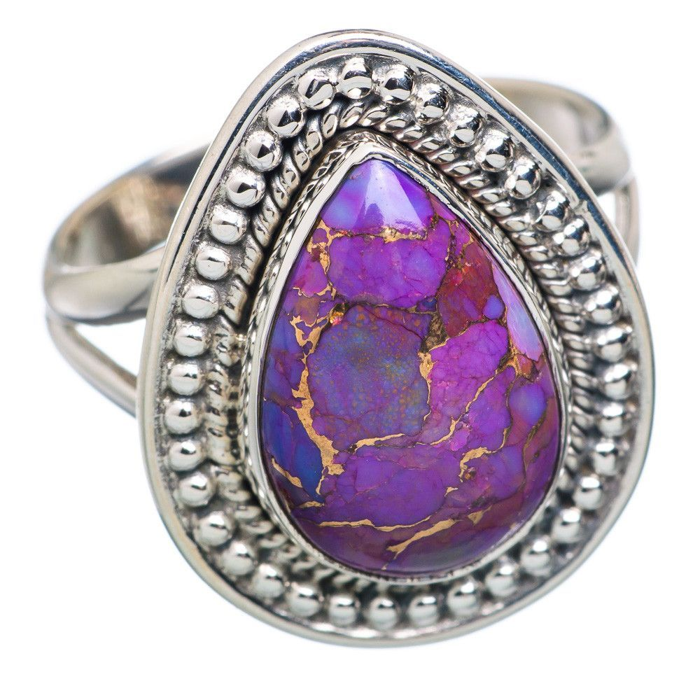 Purple Copper Composite Turquoise 925 Sterling Silver Ring Size 8.5 RING683324