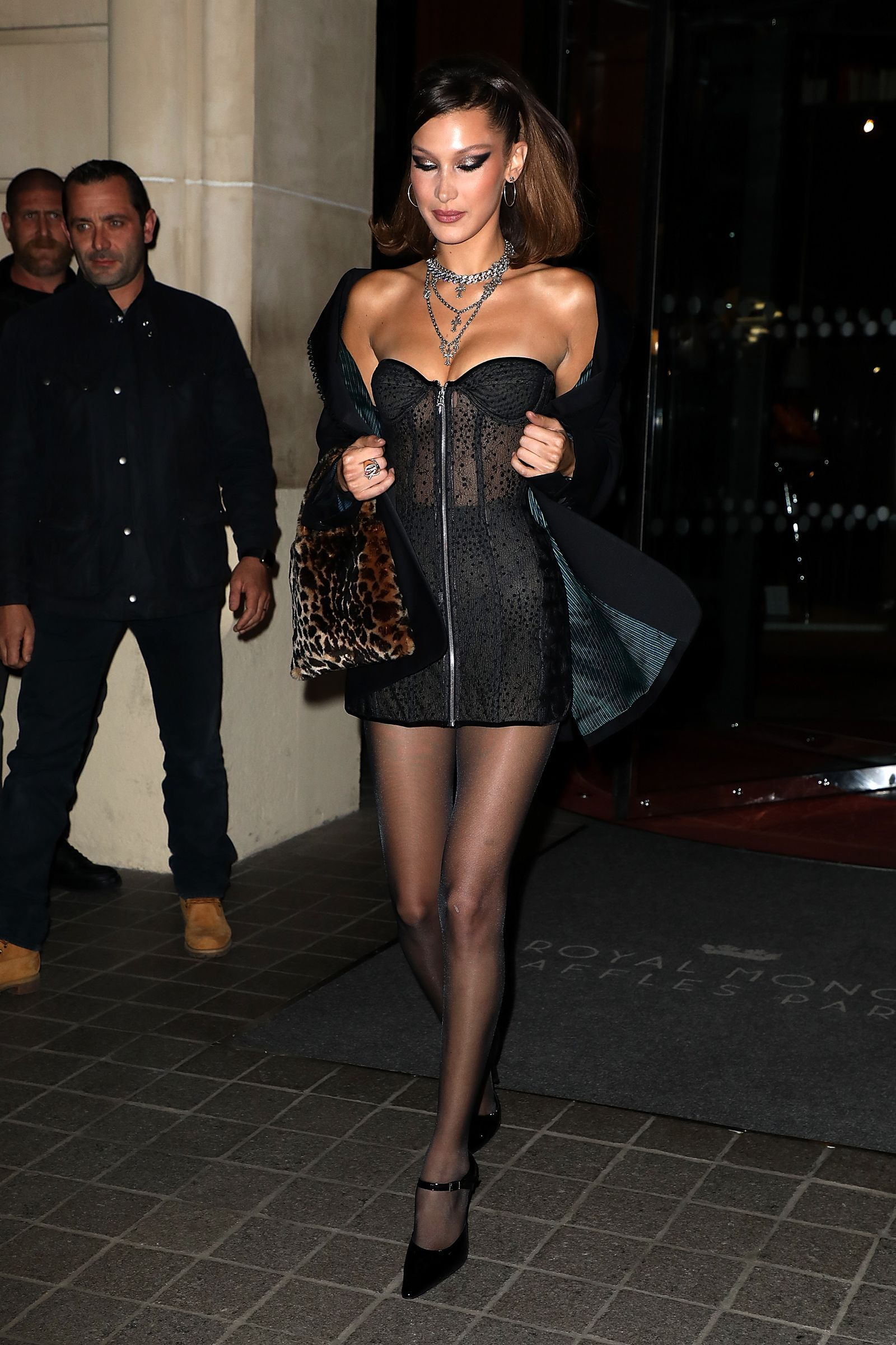 Bella Hadid Went Out In An Insanely Short Sheer Black Bustier Dress In Paris Bella Hadid Outfits Black Bustier Dress Bustier Dress [ 2400 x 1600 Pixel ]