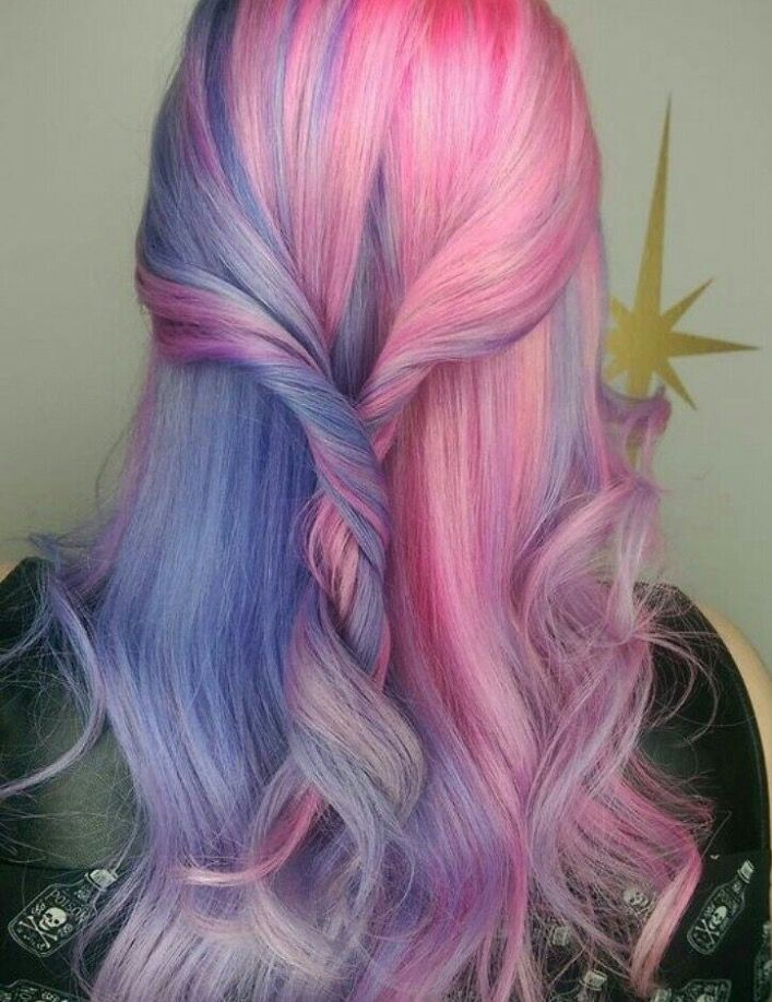 Split Hair Color In A Knot Pink And Teal Light Blue Purple Lilac Lavender Millennial Pink Split Hair Color Ombre Hair Styles Barbie Hair Light Hair Color