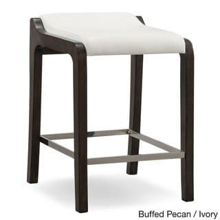 Sensational Brown White Wood Faux Leather Fastback Counter Height Stool Uwap Interior Chair Design Uwaporg
