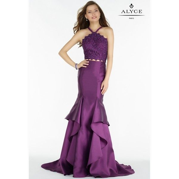 Alyce Paris 6736 Halter Prom Gown (2.505 DKK) ❤ liked on Polyvore featuring dresses, gowns, formal gowns, white formal gown, white prom dresses, prom dresses and sexy formal gowns