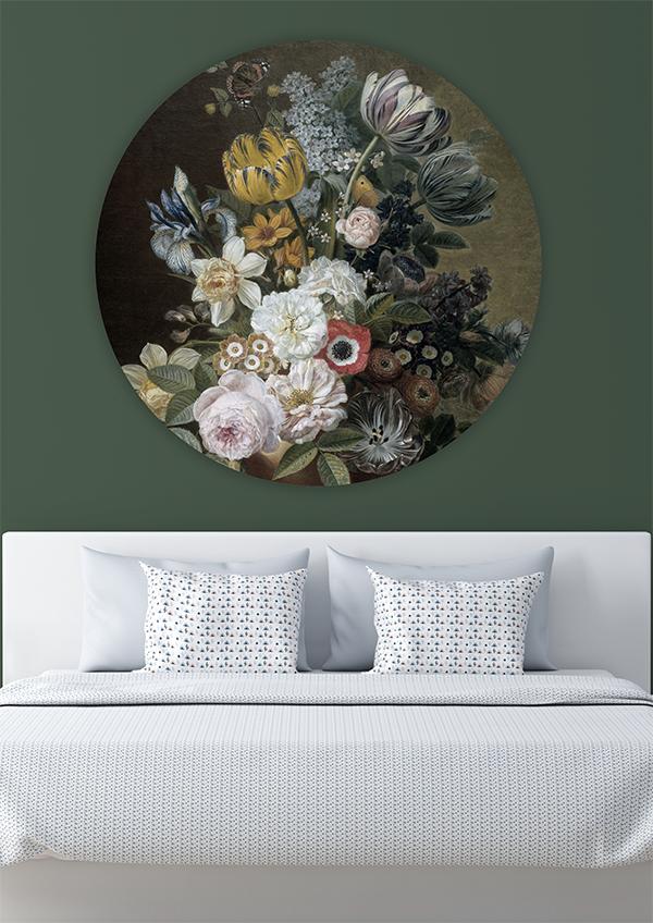 Muurcirkel Wanddecoratie Stilleven Met Bloemen Cirkel Voorbeeld In 2021 Stilleven Bloemen Slaapkamer