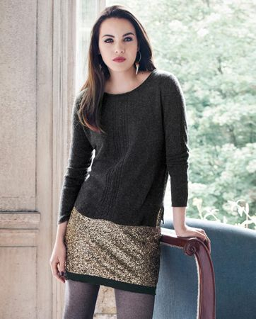 For Christmas?   Koko skirt - Wrap - Simple but very stylish short skirt created with tiny antiqued-gold sequins on a soft jersey lining with a frilled jersey hem. Lining 95% Viscose ?5% Elastane. Imported.
