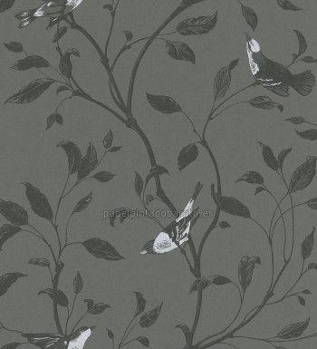 Papel Pintado pajaros y ramas de arboles negro - 798968 | Dibujo ...